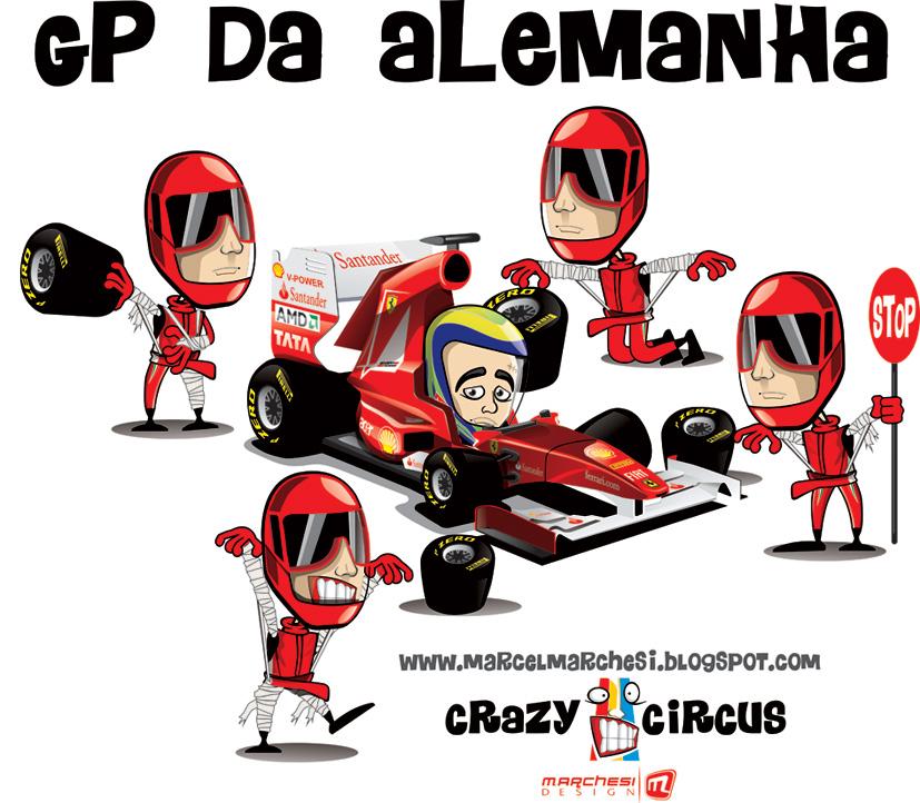 механики Ferrari подводят Фелипе Массу на Гран-при Германии 2011 - иллюстрация Crazy Circus Marchesi Design