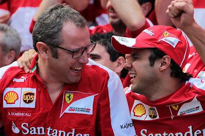 Стефано Доменикали и Фелипе Масса отмечают отличный результат на Гран-при Испании 2013