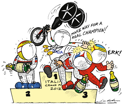 Алессандро Дзанарди Серхио Перес Льюис Хэмилтон Фернандо Алонсо подиум Монца комиксы Jim Bamber Гран-при Италии 2012