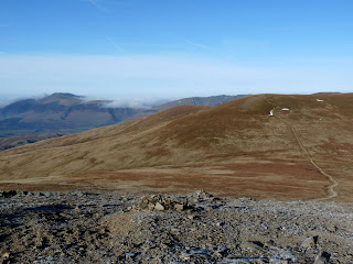 Skiddaw from ascent of Raise with Watsons Dodd and Stybarrow Dodd. It was another lovely cold and crisp day with lots of blue sky. I did not start my walk until mid morning but I was soon close to the summit of Raise. At this point I had not seen any other walkers.