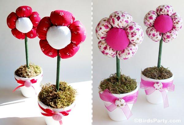 vaso de flores de fuxico