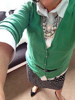 Fashion Friday black and white polka dots, green cardigan