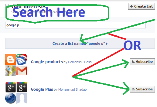 Create interest lists in Facebook