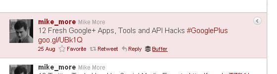 Buffer icon on Twitter.com