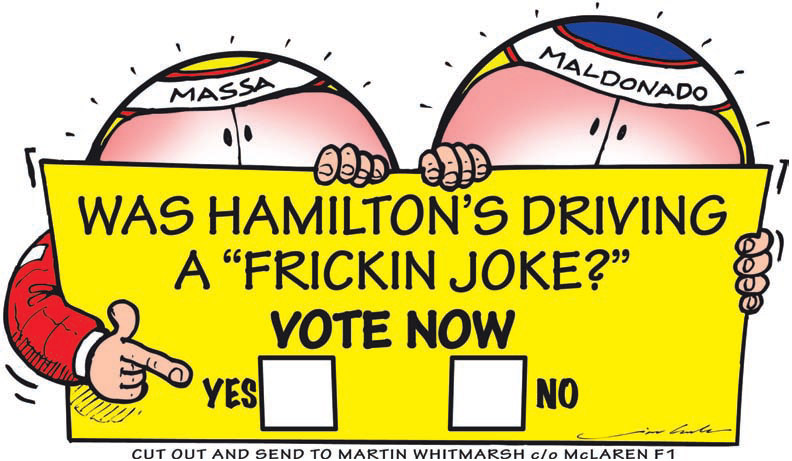 Фелипе Масса и Пастор Мальдонадо обвиняют Льюиса Хэмилтона после Гран-при Монако 2011 комикс Jim Bamber