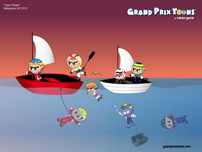 комикс Open Water по Гран-при Малайзии 2012 от Grand Prix Toons