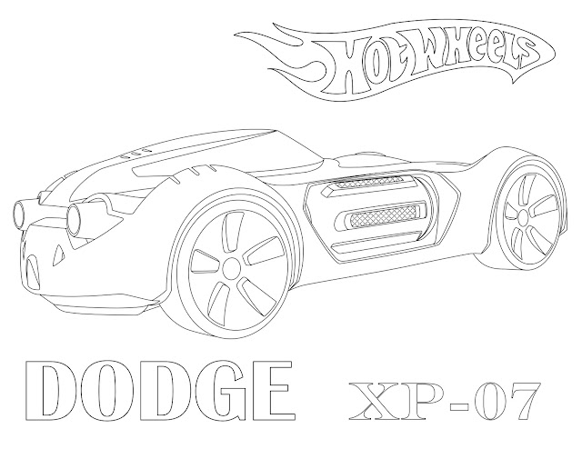 Download or print coloring page of Hot Wheels: Dodge XP-07. Create a fun activity for kids who like sport cars or Hot Wheels toys