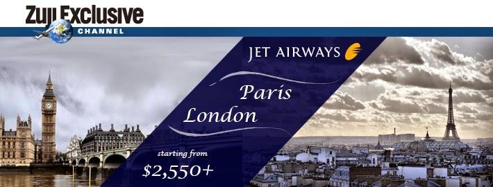 捷特航空Jet Airways香港飛巴黎、倫敦、比利時$2550起(連稅$5419)