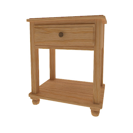 Lotus Nightstand with Shelf, Rustic Quarter Sawn Oak
