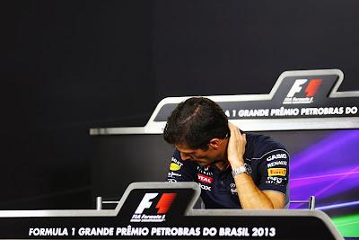 Марк Уэббер на пресс-конференции в четверг на Гран-при Бразилии 2013