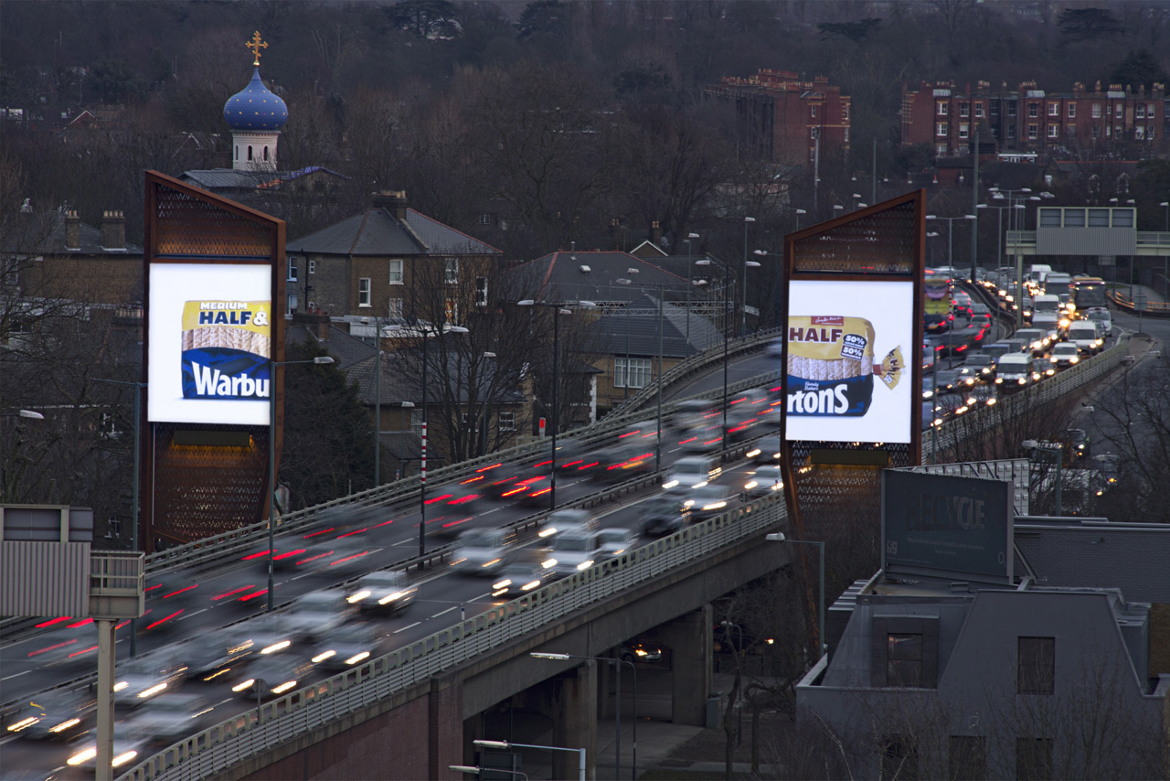 Warburtons Half & Half Loaf Bread Billboard Ad On London's Chiswick Towers