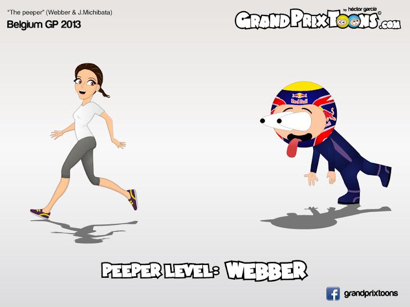 Марк Уэббер поглядывает на Джессику Мичибату на Гран-при Бельгии 2013 - комикс Grand Prix Toons