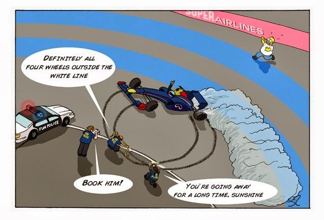 Себастьян Феттель крутит пончики на Гран-при Абу-Даби 2013 - комикс Stuart Taylor