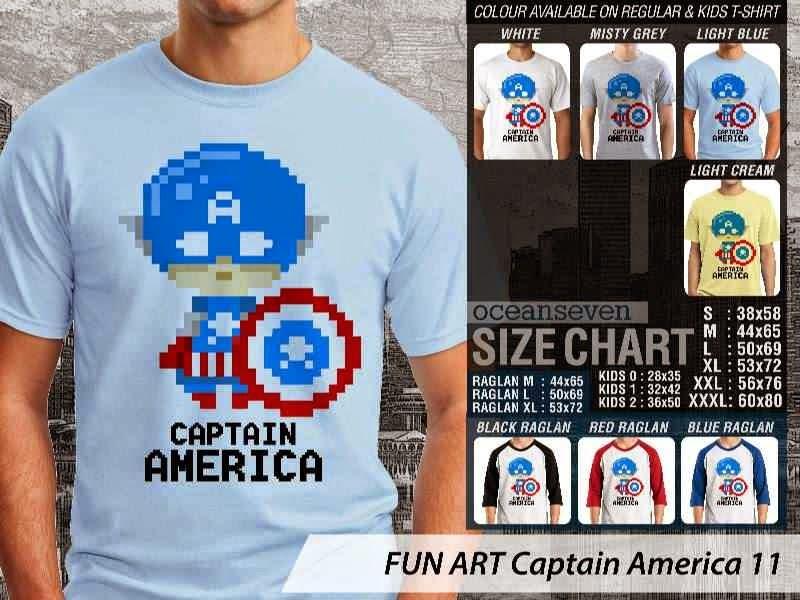 KAOS Captain America 11 Kartun Lucu distro ocean seven