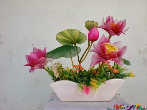 mẫu hoa sen bằng vải voan 6