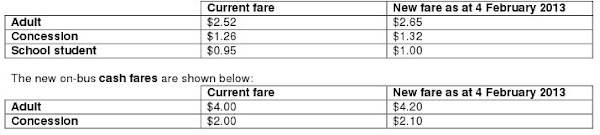bus fares