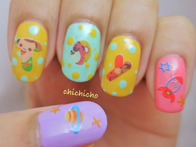 Toy Story Nail Art Water Decal Woody Buzz Lightyear alien rocket space ship cowboy