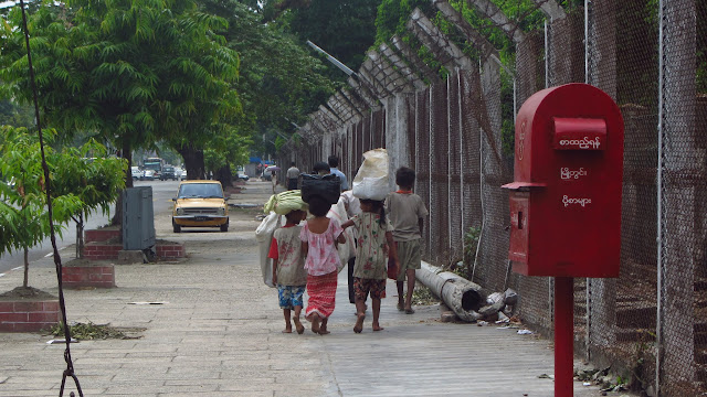 Friendly kids on the street in Yangon.
