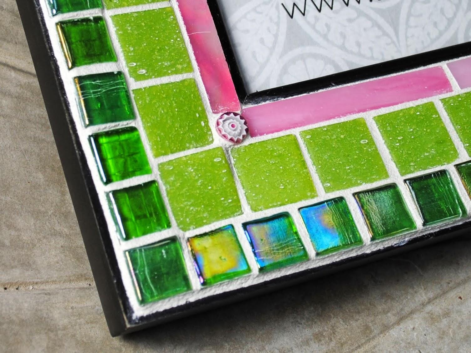 Bright Lime Green & Pink 5 x 7 Mosaic Photo Frame MOF1392
