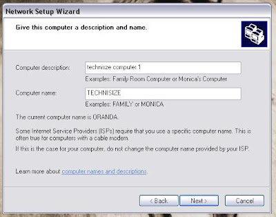 Networking wizard on computer name and description image