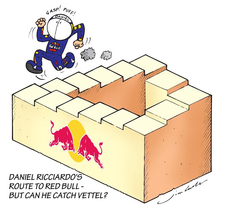 Даниэль Риккардо карабкается по лестнице Red Bull - комикс Jim Bamber