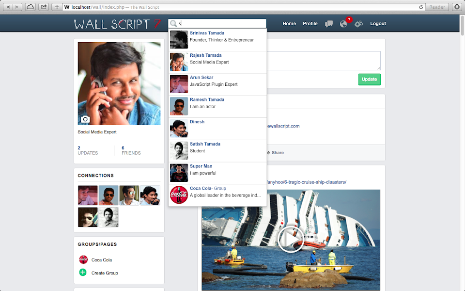 Social Network Script Groups Pages Search