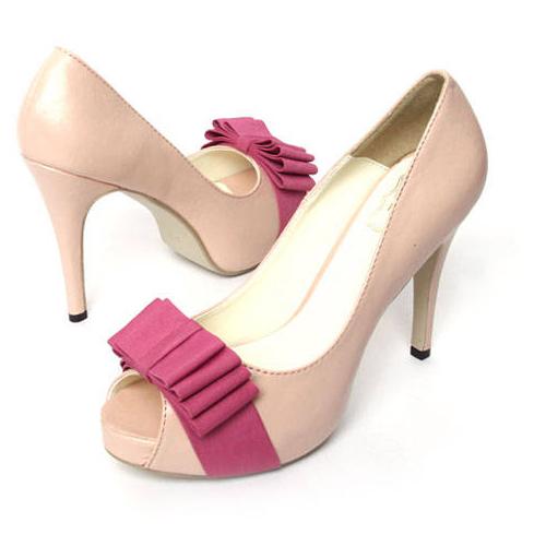 office peep toe bowtie high heels shoes pumps
