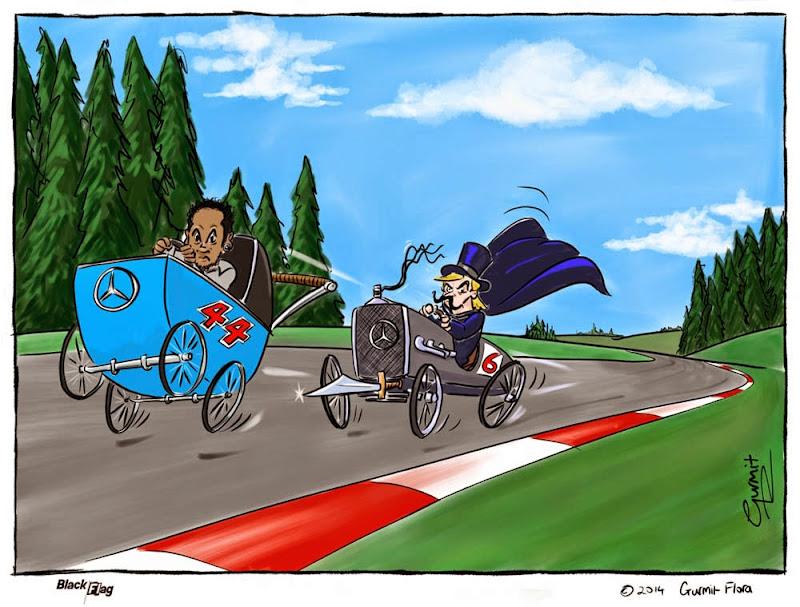 Нико Росберг преследует Льюиса Хэмилтона - комикс Black Flag по Гран-при Бельгии 2014