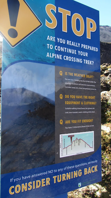 Warning sign on the Tongariro Alpine Crossing.
