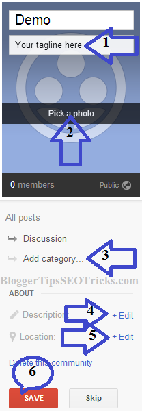 how to edite the community page on Google+