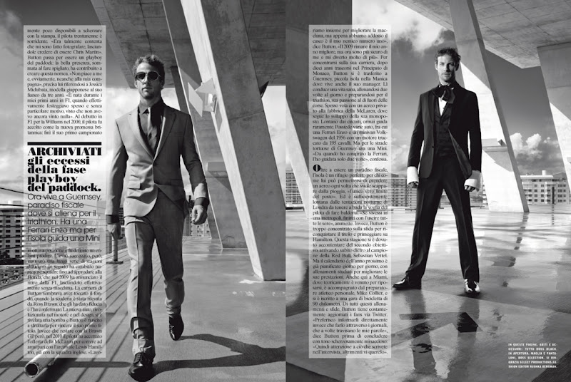 Дженсон Баттон в костюмах - страница из журнала Vogue