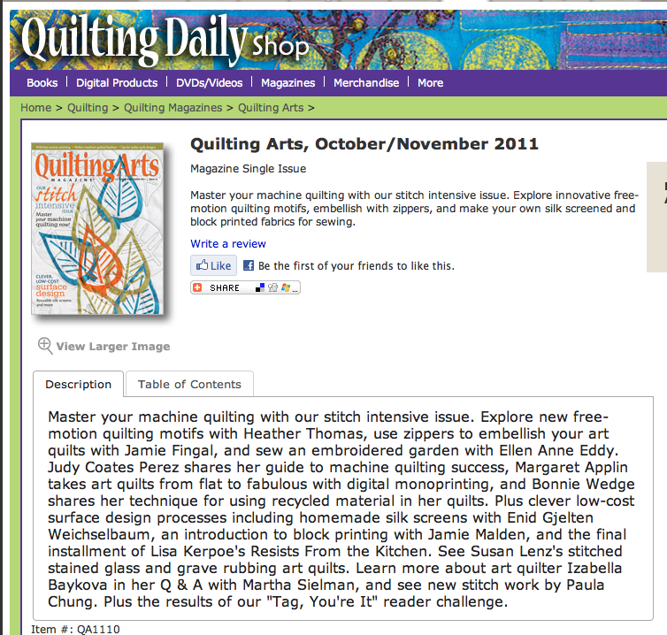 Quilting Arts Magazine - block printing
