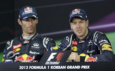Марк Уэббер и Себастьян Феттель на пресс-конференции после гонки на Гран-при Кореи 2012