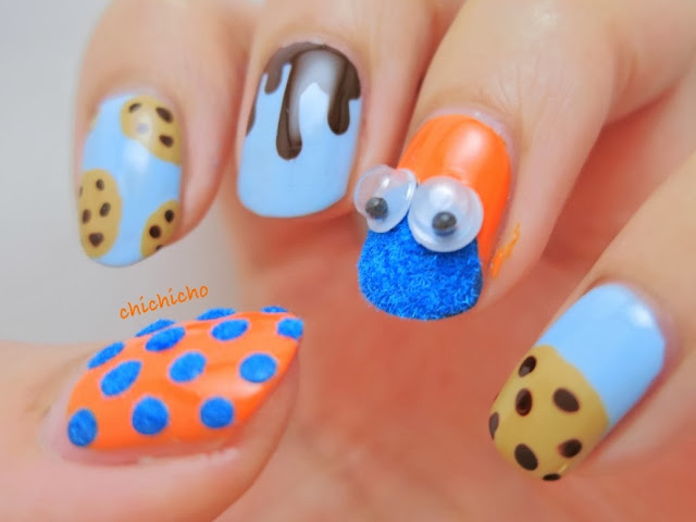 Fuzzy Wobbly Eyes Cookie Monster Nail Art