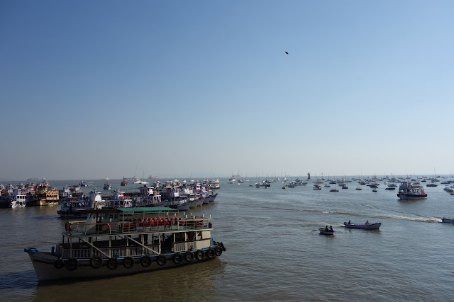 Tourist boats in Bombay's harbor.