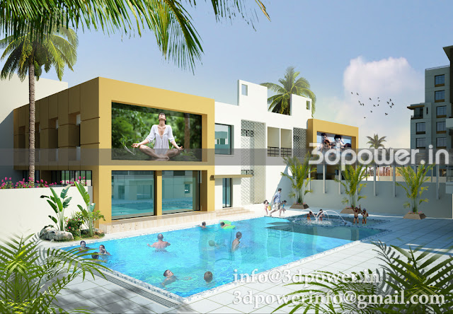 3D view of beautiful club house with all amenities. For gents outdoor swimming pool and for ladies private separate swimming pool.