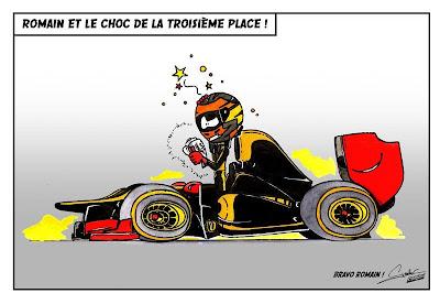 Ромэн Грожан третий за Lotus на Гран-при Бахрейна 2012 - комикс Quentin Guibert