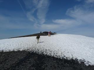 Snow as we near Skiddaw Summit