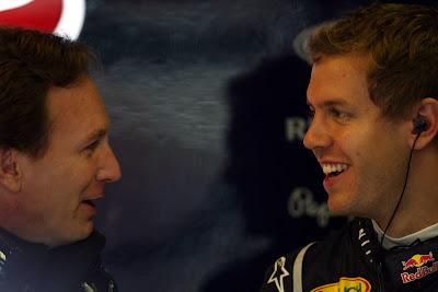 Кристиан Хорнер и Себастьян Феттель на Гран-при Венгрии 2011