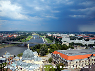 View of the city from Dresden Frauenkirche - thunderclouds promising