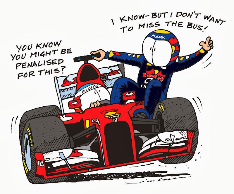 Фернандо Алонсо подвозит Марка Уэббера на своем Ferrari на Гран-при Сингапура 2013 - комикс Jim Bamber