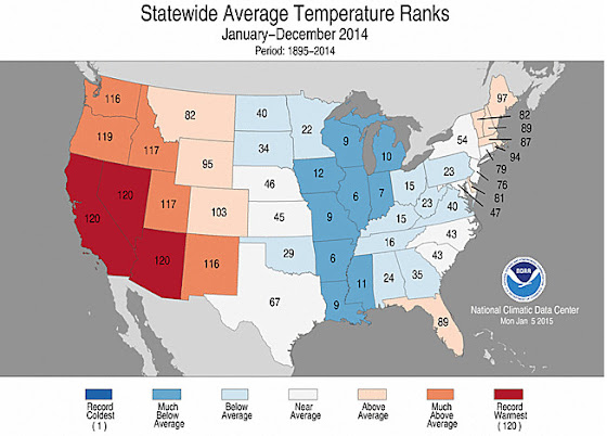 Statewide Average Temperature Ranks for 2014. (NOAA / NCDC)
