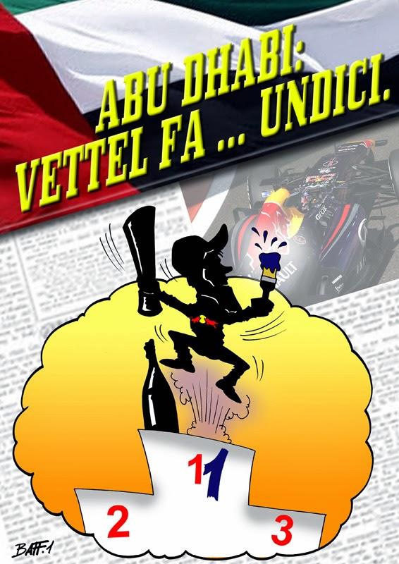 Себастьян Феттель одерживает 11-ю победу в сезоне за Red Bull - комикс Baffi по Гран-при Абу-Даби 2013