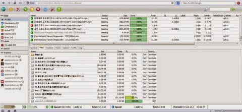 Tampilan WebUI ruTorrent