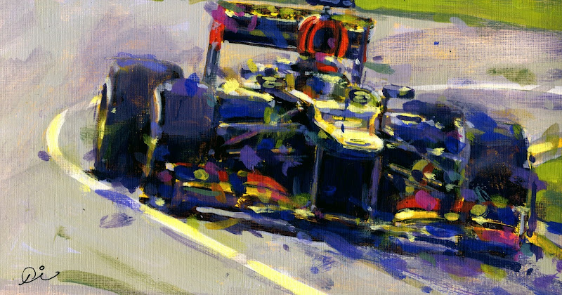 Кими Райкконен на Lotus побеждает на Гран-при Австралии 2013 - рисунок Rob Ijbema