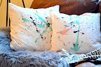 Water color splat cushions