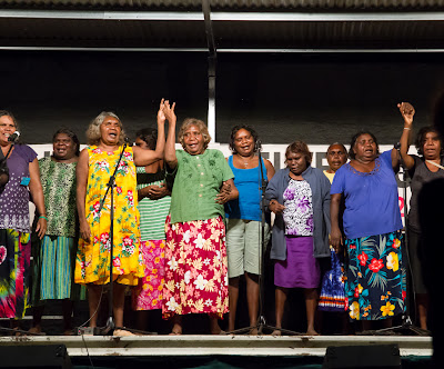 Christians from the Lajamanu language group share a worship song at the annual Katherine Christian Convention held annually in Katherine, Australia.