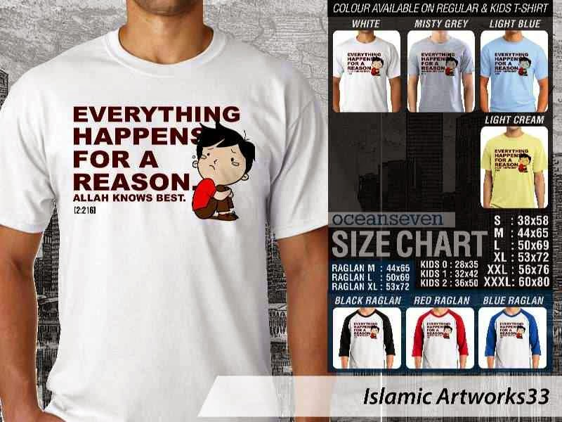 Kaos distro dakwah Muslim Everything happens for a reason. Allah knows best. Islamic Artworks 33 distro ocean seven