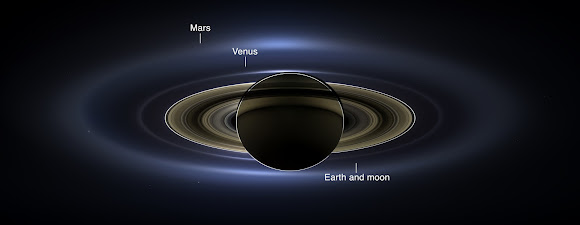 On July 19, 2013, in an event celebrated the world over, NASA's Cassini spacecraft slipped into Saturn's shadow and turned to image the planet, seven of its moons, its inner rings -- and, in the background, our home planet, Earth.  Click the image for a larger view.  (NASA/JPL-Caltech/SSI)
