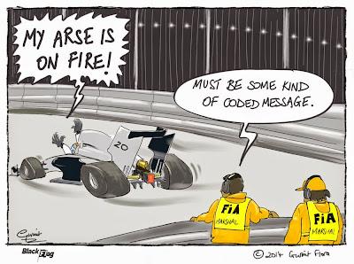 Кевин Магнуссен обжигается в болиде McLaren на Гран-при Сингапура 2014 - комикс Black Flag